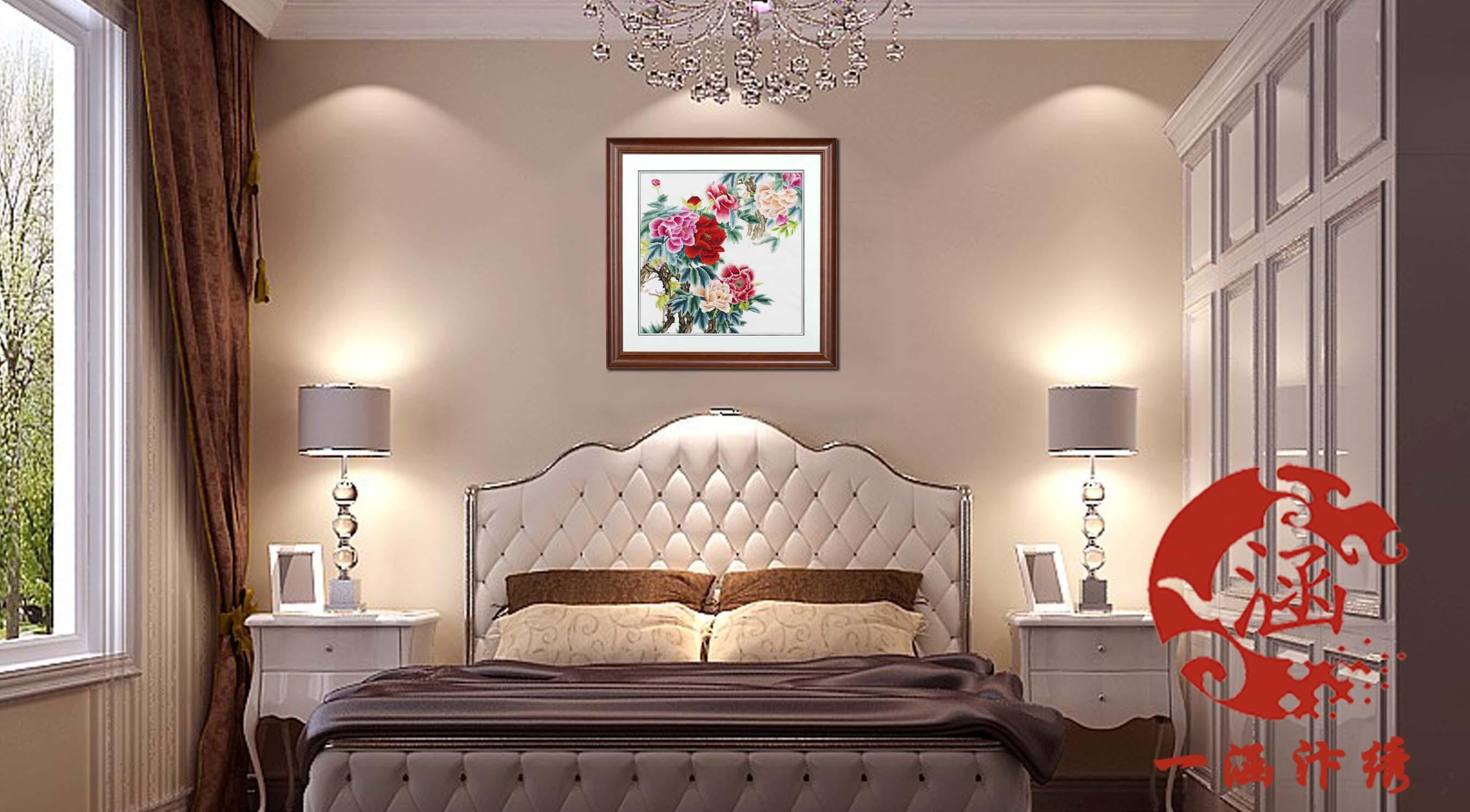 手工刺绣客厅装饰画 牡丹花开富贵
